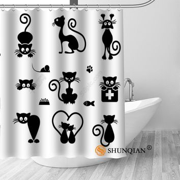 Custom Cartoon Cat Bath Curtain - Fabric