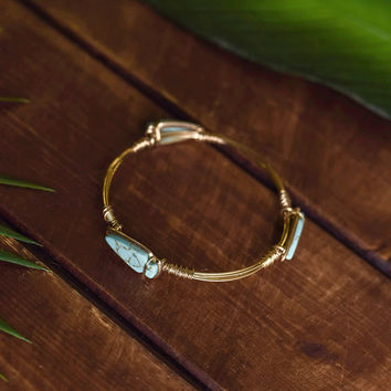 After The Rain Multi Natural Stone Wire Detail Bracelet (Gold/Turquoise)