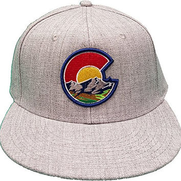 Colorado Flag C Nature Outline Raised Heather Gray Snap Back Flat Bill Hat (Heather Gray)