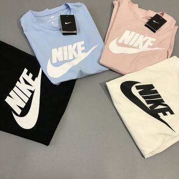 Nike Women Men Summer Round Collar T-Shirt Pullover Top