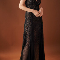 Embroidered Tea Length Cocktail Dress With Hand Pleated Insets | Moda Operandi
