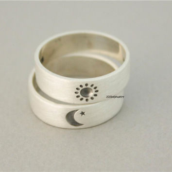 8 Compact Design Circles The Sun Moon Star $ Consignment Silver Engagement Rings Couple Rings Size 7-9