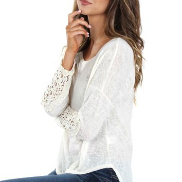 Lace Detailed Woven Top