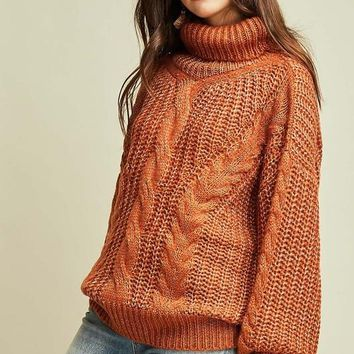 Sure About This Cable Knit Turtle Neck Sweater (Desert Sand)