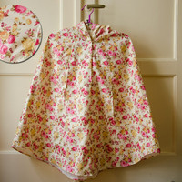 English Rose Raincoat, Womens Floral Rain Cape with Hood, Cream and Pink Roses