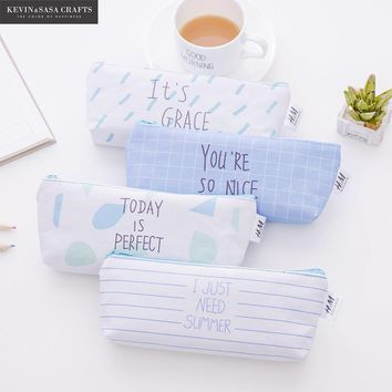 Words Canvas Pencil Case Kawaii Pencilcase Stationery School Supplies Pencils School-supplies Pencil Cases School Students Gift