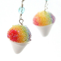 Rainbow snow cone earrings by inediblejewelry on Etsy