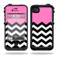 Mightyskins Protective Vinyl Skin Decal Cover for LifeProof iPhone 4 / 4S Case wrap sticker skins Pink Chevron