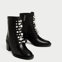 00f1cc490 HIGH HEEL LEATHER ANKLE BOOTS WITH FAUX PEARLS DETAILS