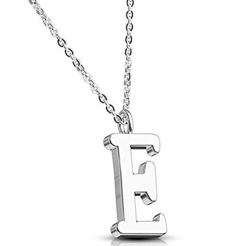 BodyJ4You Necklace Letter E Initial Alphabet Charm E Stainless Steel Chain