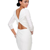 Sexy White Dress - Backless Dress - Long Sleeve Dress - $47.00