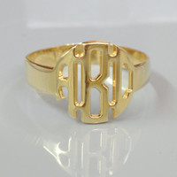 Monogram Ring -Personalized Initials Ring Block Font - 18k Gold Plated