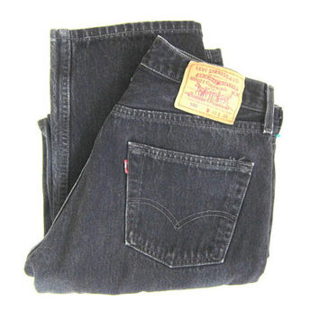 Levis 501 Mens Vintage Black Button Fly Jeans - Vintage 501 Levis Button Fly Denim size 30 x 34