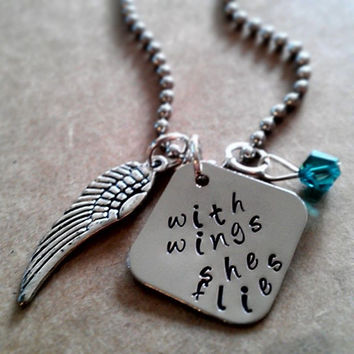 """Hand Stamped """"With Wings She Flies"""" Necklace"""