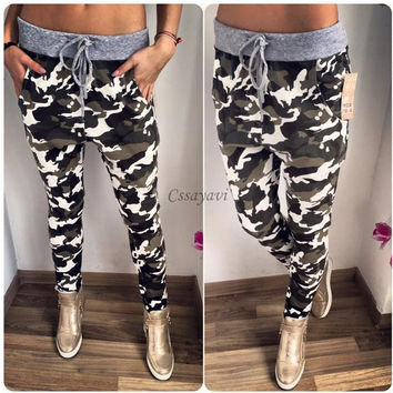 New Fashion women casual pants S-XL Plus Size Flower Printed Womens fashion Camouflage Pants 2016 Nineth Capris Casual Trousers