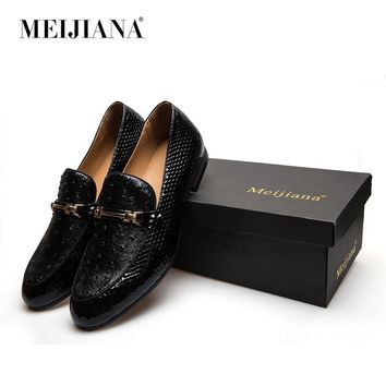 MeiJiaNa Men Shoes Brand Casual Leather Black Men Shoes Luxury  Brand Loafers