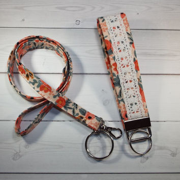 Skinny floral Lanyard id Badge Holder and lace keychain key fob - Lobster clasp and key ring w Thinner  Design - vintage inspired rosa peach