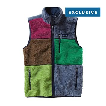 Patagonia Men's Patchwork Retro-X™ Fleece Vest | Black Oak