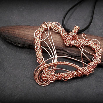 OOAK wire wrapped heart necklace, copper wire weave heart pendant, swirly intricate wrapped heart, leather necklace, unique women necklace