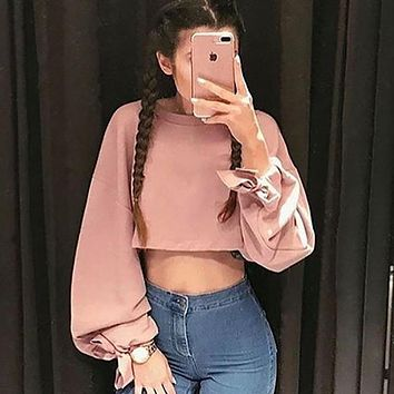 Women Casual Loose Bandage Lantern Sleeve Long Sleeve Solid Color Sweater Crop Tops