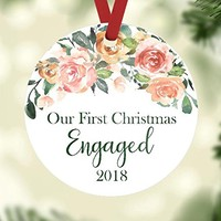 Christmas Ornament - Our First Christmas Engaged - Customize the Year