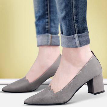 Womens Jagged Low Office Heels