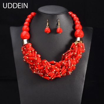 UDDEIN Multi color African Beads Jewelry Sets Red Beads Chain Chunky Indian Wedding Necklace Set Weave Crystal Collar Vintage