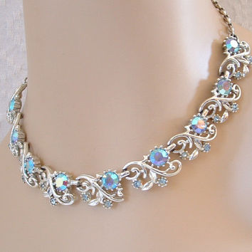 Vintage Coro AB Blue Rhinestone Necklace - Bridal - Prom