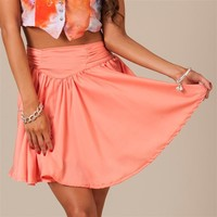Peach Pleated Skirt with Big Bow Back Detail