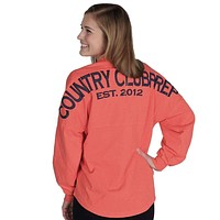 Country Club Prep Jersey in Coral and Navy by Spirit Jersey