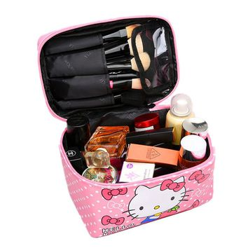 Women Cute Hello Kitty Cosmetic Bag Cases PU Leather Beauty Vanity Make up Box Travel Organizer Toiletry Wash Storage Pouch Tote