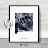 New Mexico Art Print New Mexico Print New Mexico Map Art Print Map Print Map Poster Watercolor Map Office Decor Office Poster ArtPrintZone