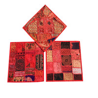 Red Embroidered Cushion Cover Patchwork Handmade Vintage Indian Pillow Case 3p