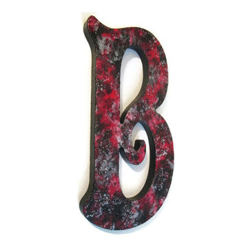 Custom Decorative Letters textured black Victorian Gothic wall letter hand painted with black, red, metallic silver, 6 inches to 20 inches