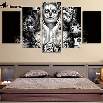 HD Printed Day of the Dead Face 5 piece canvas art painting dropshipping 2018 sugar skull black white wall art Free/ny-437