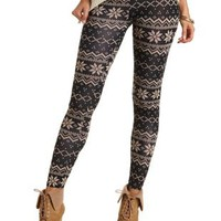 Cotton Fair Isle Printed Leggings by Charlotte Russe - Taupe Combo