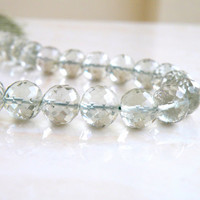 42% Off Outstanding Prasiolite Green Amethyst Gemstone Round Faceted Disco Mint Sage 9mm 13 beads