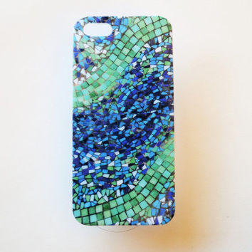 iPhone 5 Case Cover Blue Tile iPhone 5s Hard Case Mosaic Back Cover For iPhone 5 Slim Design Case