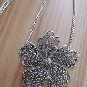 Flower necklace, antiques silver