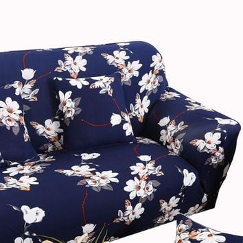 Dark blue sectional couch covers flower print sofa cover elastic stretch loveseat slipcover for living room modern sofa make up