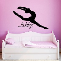 Wall Decal Name Vinyl Wall Decals Sticker Custom Personalized Girls Name Decor Ballerina Acrobatics Ballet Dancer Gymnastics Nursery ZX135