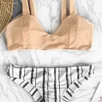 Cupshe Breeze Vernal Stripe Bikini Set