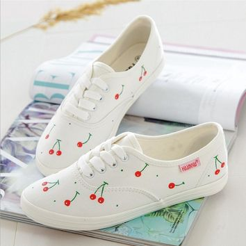 One-nice™ Leisure line with flat shoes and white fresh canvas Cherry shoes Beige