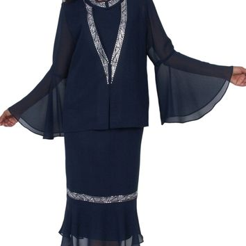 CLEARANCE - Hosanna 5044 Navy Blue Plus Size 3 PC Set Dress Modest Tea Length Jacket Top (Size 3XL)