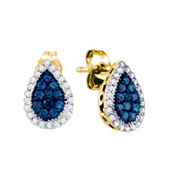 Blue Diamond Fashion Earrings in 10k Gold 0.53 ctw