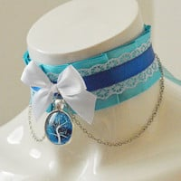 Lolita collar - Winter storm - turquoise blue satin and white pleated choker - wiccan witch choker - kitten play kawaii cute cosplay costume