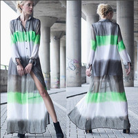 Grey Striped Pattern Long Sleeve Sheer Button Maxi Dress