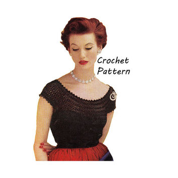 Woman's Short Sleeve Blouse Crochet Pattern || Vintage 1950's || Reproduction PDF Instant Download Irene S-382