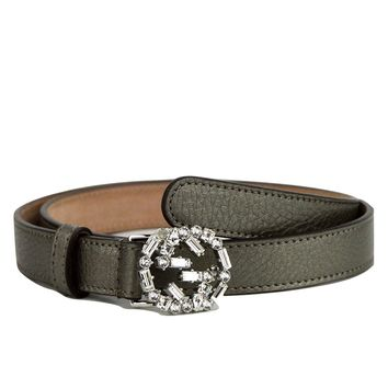 Gucci Women's Interlocking Crystal G Leather Skinny Belt 354380