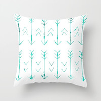 Teal Arrow Pillow Cover - Cover Only - Sofa Pillow - Hand Drawn Arrows -Decorative Pillow - Bed Pillow -  Made to Order